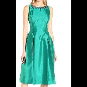 Tahari Women Necklace Dress with Pleats Dress S 6